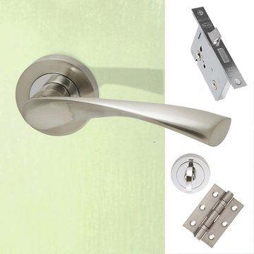 Solar Bathroom Door Handle Pack Polished Chrome Satin Nickel Bathroom Door Handles Door Handles Bathroom Doors