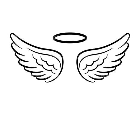 Angel Wings and Halo Svg Loss Memorial. Vector Cut file for   Etsy