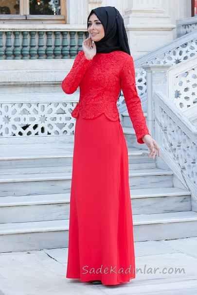 Tesettur Abiye Elbise Kirmizi Uzun Ust Kismi Cicek Gupur Dantelli The Dress Aksamustu Giysileri Elbiseler