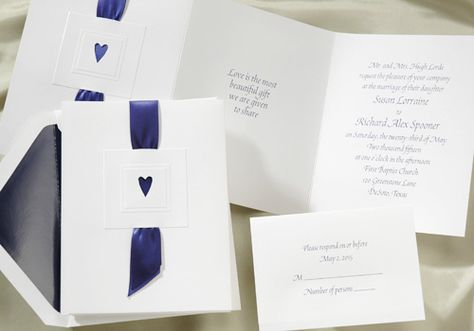 Blue and White Wedding Ideas - Blue Ribbon Wedding Invitations by Occasions In Print (Invitation Link - http://www.occasionsinprint.yourinvitationplace.com/Detail.aspx?ItemNum=T+171MN&WebName=occasionsinprint)