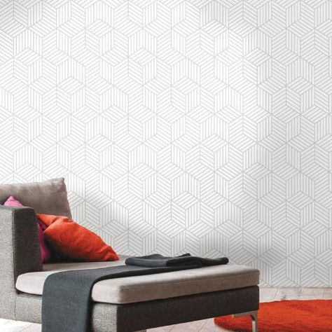 White And Gray Hexagon Peel And Stick Wallpaper World Market Peel And Stick Wallpaper Wallpaper Roll Home