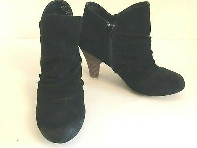 Black Suede Leather Ankle Boot Shoes
