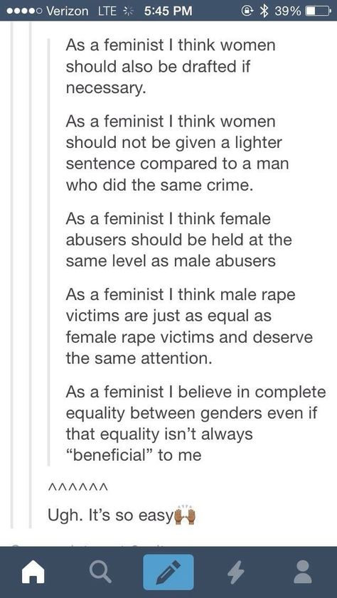 "Omg yes. I hate it when people assume feminists are against this stuff because it's not ""beneficial"" to women. Like I said gender equality for all, did I f*cking stutter?"