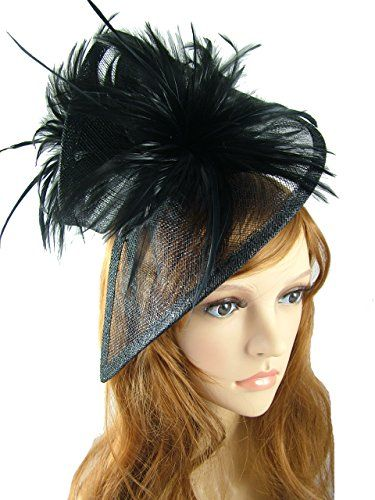Black Sinamay /& Feathers Twist Hat Fascinator Occasion Wedding Races Funeral