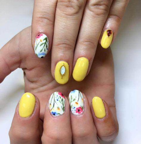Uñas Amarillas Con Flores Uñas Diseños De Uñas Uñas Y