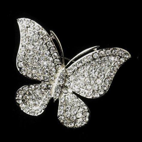 Silver Clear Rhinestone Butterfly Bridal Brooch