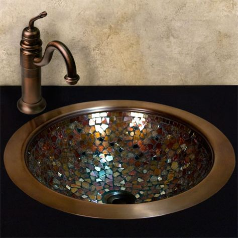 Copper mosaic sink