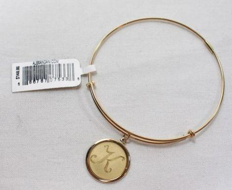 Authentic Alex & Ani 14k Gold Filled Initial K Charm Adjustable Bracelet $148 - http://designerjewelrygalleria.com/alex-ani/authentic-alex-ani-14k-gold-filled-initial-k-charm-adjustable-bracelet-148/