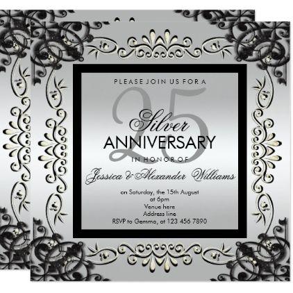 Elegant Silver Black 25th Wedding Anniversary Invitation