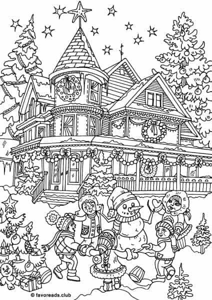 Christmas House Coloring Page Coloring Pages Adult Coloring