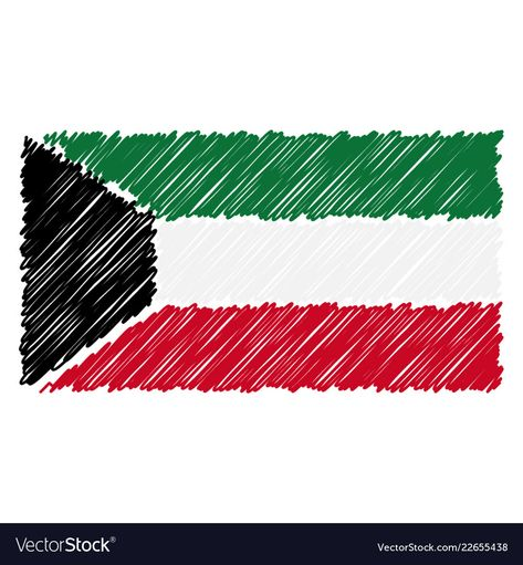 Hand Drawn National Flag Of Kuwait Isolated On A Vector Image On National Flag