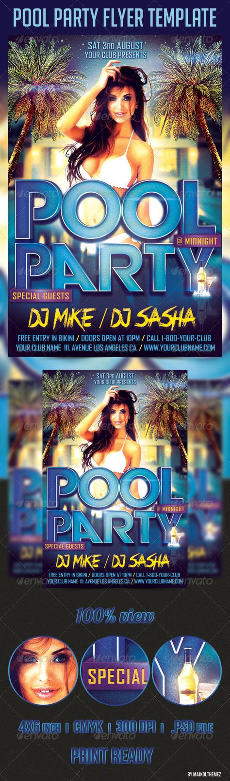 Horizontal Techno DJ Promotion Flyer Flyer template, Template - pool party flyer template