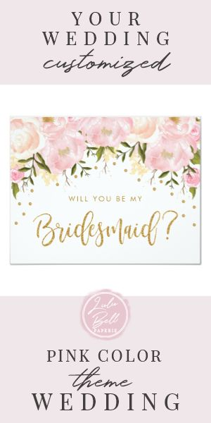 Blush Gold Floral Will You Be My Bridesmaid Invitation #pinkand #willyoubemy #ican'tsayi #bridesmaidproposal #blushand #Invitation
