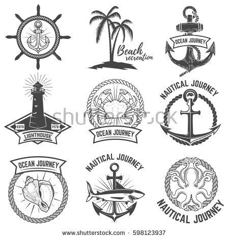 Set of nautical emblems isolated on white background. Design elements for logo, label, sign. Vector illustration.