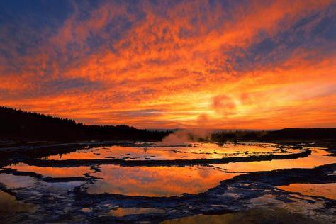 Yellowstone Landscape at Sunset