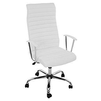 Bürostuhl Drehstuhl Chefsessel Cagliari, Ergonomische Form ~ Weiß
