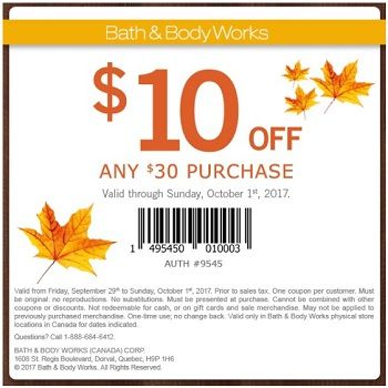 Shop With Bath Body Works Canada Printable Coupon October 1 2017 Bath And Body Works Bath And Body Body Works