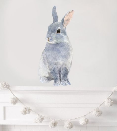 nursery decor, woodland nursery, nursery art, rabbit wall decal