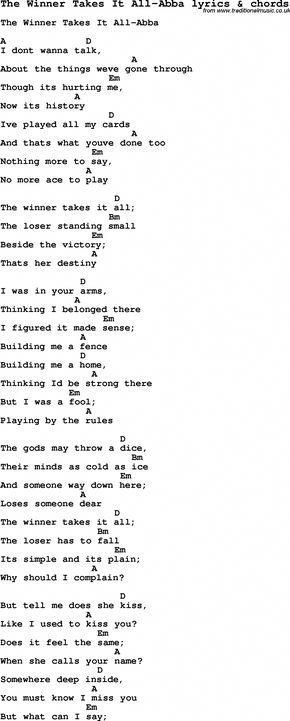 Love Song Lyrics For The Winner Takes It All Abba With Chords For