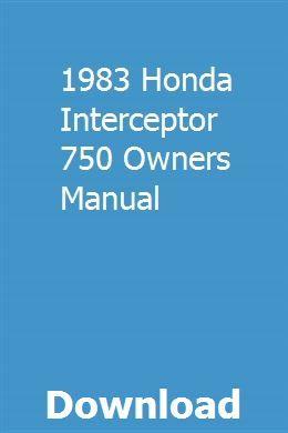 1983 Honda Interceptor 750 Owners Manual Owners Manuals Manual Car Shuttle Bus Service
