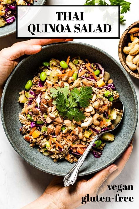 Crunchy Thai Quinoa Salad made with cabbage, edamame, carrots and tossed in a sesame ginger sauce. Packed with plant protein, it's vegan & gluten-free. #quinoa #quinoasalad #thaiquinoa #saladrecipe #foolproofliving