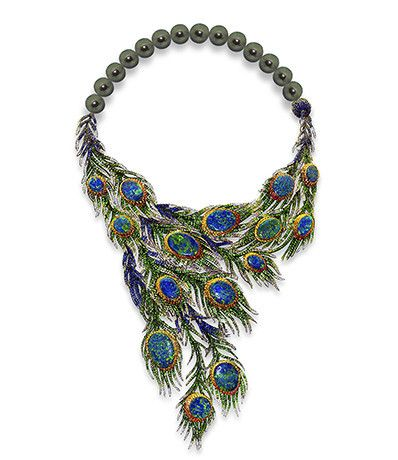 I have a TOTAL weakness of peacock feathers. (Peacock necklace by Alessio Boschi 2 June 2014 Couture jewelry )