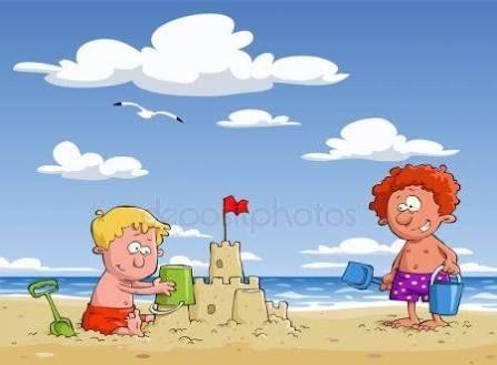 Dibujos De Ninos En La Playa Buscar Con Google Cartoon Background Vector Graphics Design Children Illustration