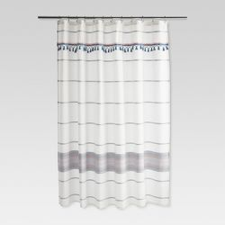 Woven Multi Striped Shower Curtain Blue Gray Threshold