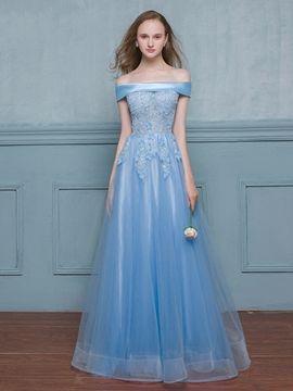 Cute Off-the-Shoulder A-Line Beading Lace Long Evening Dress #EveningDresses #Cute #OfftheShoulder #ALine #Beading #Lace #Long #Evening #Dress