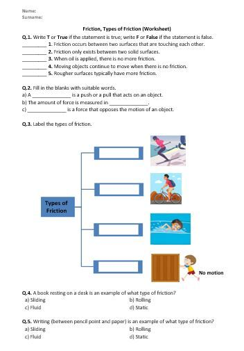 Friction Types Of Friction Worksheet Printable And Distance Learning Conceptual Physics Worksheets Physical Science Middle School Friction and gravity worksheet