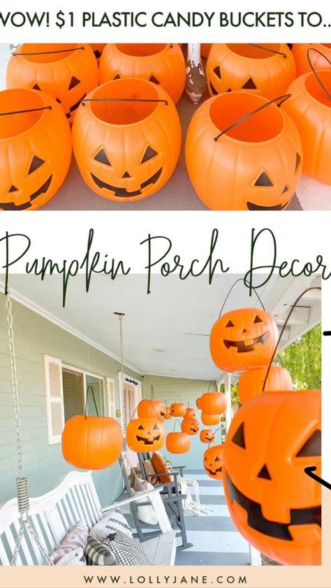 $1 Pumpkin Pails To Hanging Halloween Display!