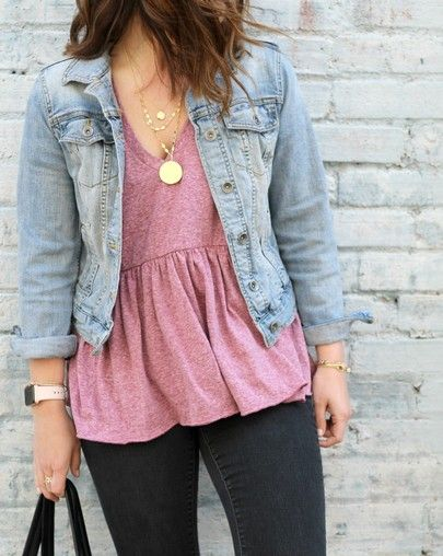 sneakers for cheap cute new high Light Denim Jacket, Pink top, black jeans | Peplum top ...