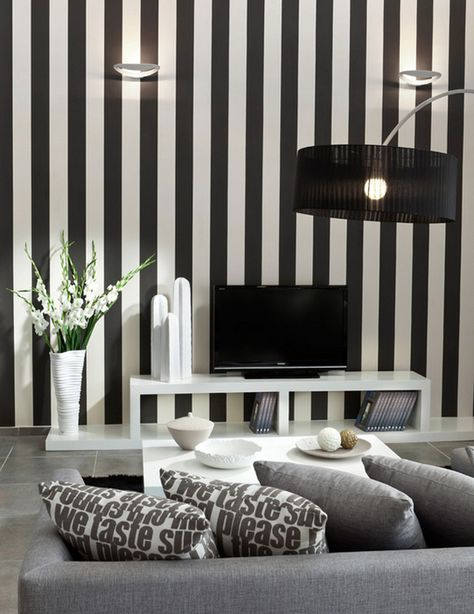 Bold And Beautiful Black And White Stripes In Every Room Striped Wallpaper Living Room Striped Walls Living Room Striped Room