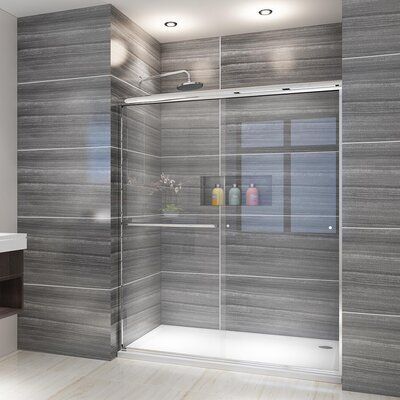 Elegant ELEGANT SHOWERS 58.5-60 W x 72 H, Semi-frameless Bypass Sliding Shower Doors, 1/4 Clear Glass, Chrome FinishFeatures:Dimension: 60 in. W. x 72 in. H. glass panel: 30 2/5 In, width adjustment from 58.5 inch to 60 inch (cut top  bottom rail track to fit your size) . Hardware finish type: chrome1/4 inch (6mm) clear tempered glass- ANSI Z97.1 certified. Saftey and easy to cleanA exterior door handle provides a place to hang towels and clothes. Prime aluminium handware material resist