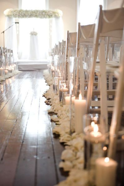 wedding ceremony aisle indoors white rose petals and candles Style Me Pretty   Gallery   Picture   #88828