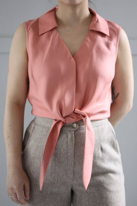 0e52a5b8c141c Small Medium Bubblegum Pink Silk Sleeveless Tie Top    Minimal    1990s  Fashion    Collared Silk Blo