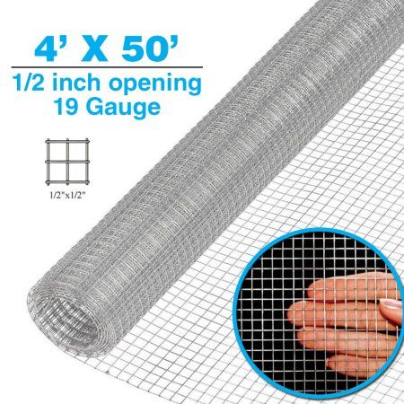 "Galvanized Hardware Cloth Wire Metal Mesh Fencing Cage Chicken Wire 1//2/"" or 1//4/"""