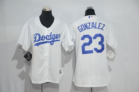 Womens 2017 MLB Los Angeles Dodgers 23 Gonzalez White Jerseys 8bac4926d58