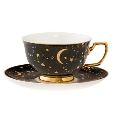 It's Written in the Stars Teacup & Saucer - Ebony & Gold, You can appreciate breakfast or different time periods applying tea cups. Tea cups likewise have decorative features. Once you look at the tea cup designs, you might find that clearly.