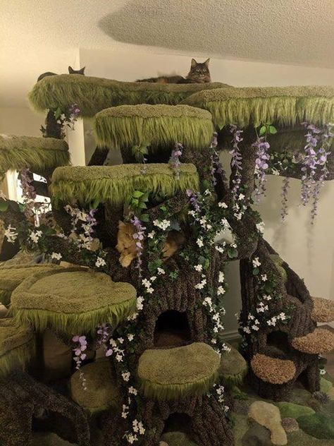 Epic Enchanted Forest Cat Tree - Welcome New Petsupplies Cat Castle, Cat Tree House, Diy Cat Tree, Cat Towers, Animal Room, Cat Playground, Cat Enclosure, Cat Room, Cat Condo