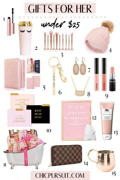 The Best Christmas Gift Ideas For Her Under $25 | Christmas Gifts For Her | Christmas Gift Guide For Her | Affordable Gift Ideas | Great gifting ideas for the friend who loves beauty products, gold jewellery, candles, makeup, bath products, anything rose gold and more! | Gifts For Mom, Gifts For Best Friend, Gifts For Sister #christmasgiftideas #giftideas #giftguide #giftsforher #giftguideforher #giftguidechristmas #chicpursuit #girly #giftsformom#holidaygiftguide #christmasgiftguide