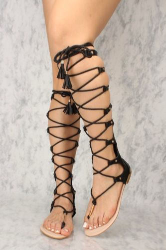 Women Lace up Open toe Gladiator Mid
