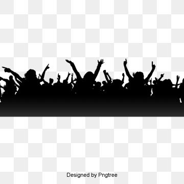 Simple Party Cheering Crowd Silhouette Elements Png And Psd Banner Background Images Party Poster Clip Art