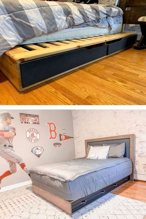 See how she hacked her ikea platform bed into a beautiful restoration hardwood inspired style on a budget. This platform storage bed IKEA hack is the right mix of rustic and industrial and it just feels like a nice cool boys bedroom decor. Check out the before and after for some budget friendly bedroom decor inspiration.