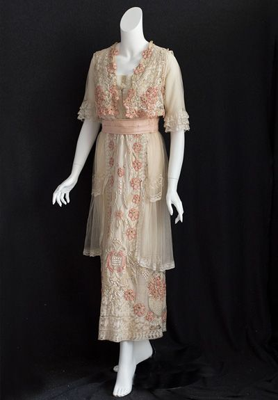 Hand-embroidered lace tea dress, c.1914