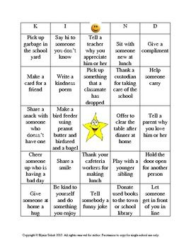 "$1 Random Acts of Kindness ""KIND"" Bingo"