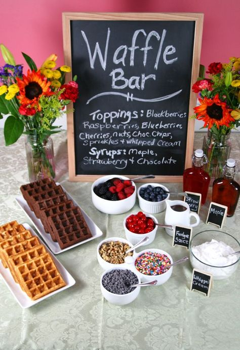 """CAKE WAFFLES: Fun idea to do w/ the family!!! Put a """"Waffle Bar"""" up buffet style w/ different toppings and let everyone put together their own CAKE WAFFLE! Great for Birthday parties too! Or adapt it for a HALLOWEEN or ANY holiday party!!!  Visit site for recipe!"""