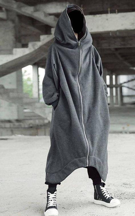 Asymmetric Overlong Oversized Gotham City Hooded Irregular Long Coat Women Winter Loose Windbreaker Casual in 2020 Winter Coats Women, Coats For Women, Mode Sombre, Langer Mantel, Cool Outfits, Fashion Outfits, Character Outfits, Grunge Outfits, Mode Style