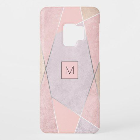 Monogram Geometric Trendy Rose Gold Pink Silver Case-Mate Samsung Galaxy S9 Case #phonecase #phonecases #trendy