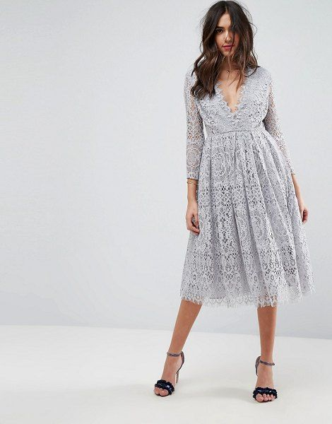 Asos Design Long Sleeve Lace Midi Prom Dress Asos Lace Dress Lace Dress With Sleeves Fall Dress Outfit